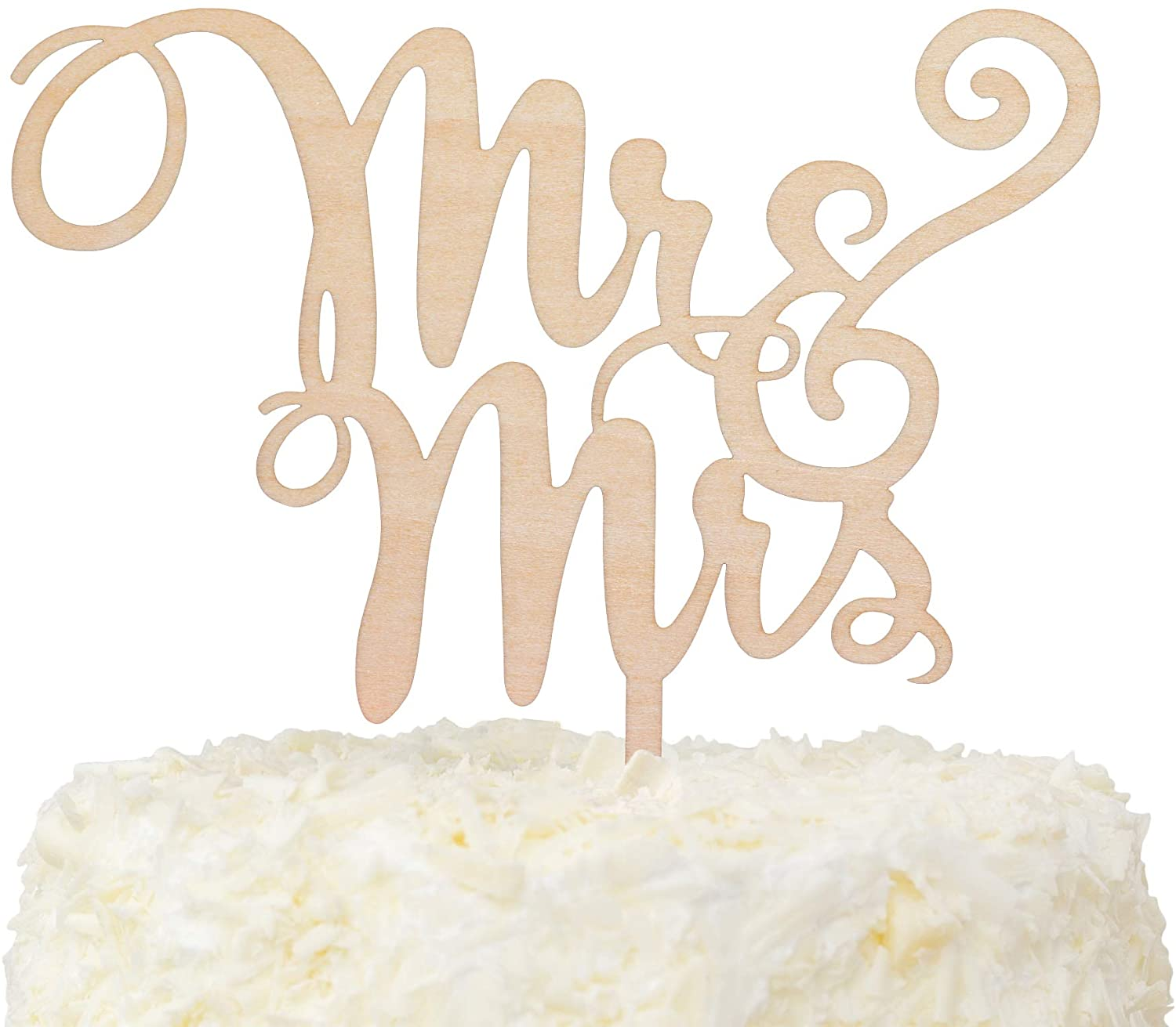 LOVENJOY Gift-Boxed Wooden Mr and Mrs Cake Topper Rustic Wood Wedding Decoration