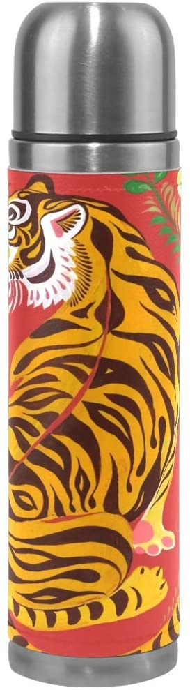 HLive Stainless Steel Tiger Folk Water Bottle Thermos Insulated Vacuum Cup, Leather Cover 17 oz Travel Mug for Kids Adults
