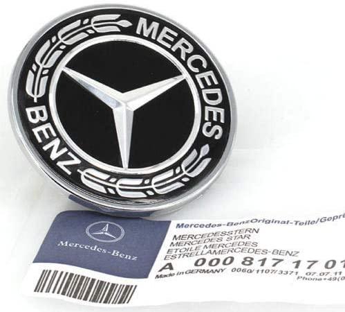 Flat Hood Emblem for Mercedes Benz C E SL Class Ornament Logo Black 57MM