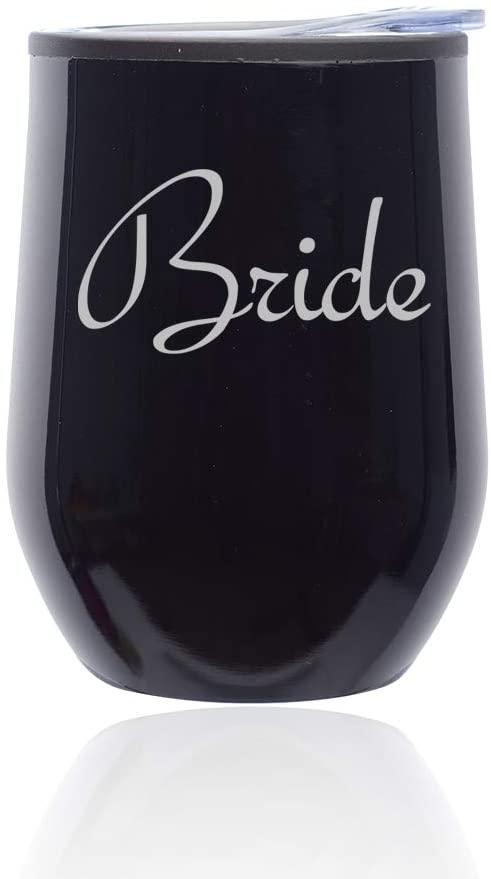 Stemless Wine Tumbler Coffee Travel Mug Glass with Lid Bride Bachelorette Wedding (Midnight Black)