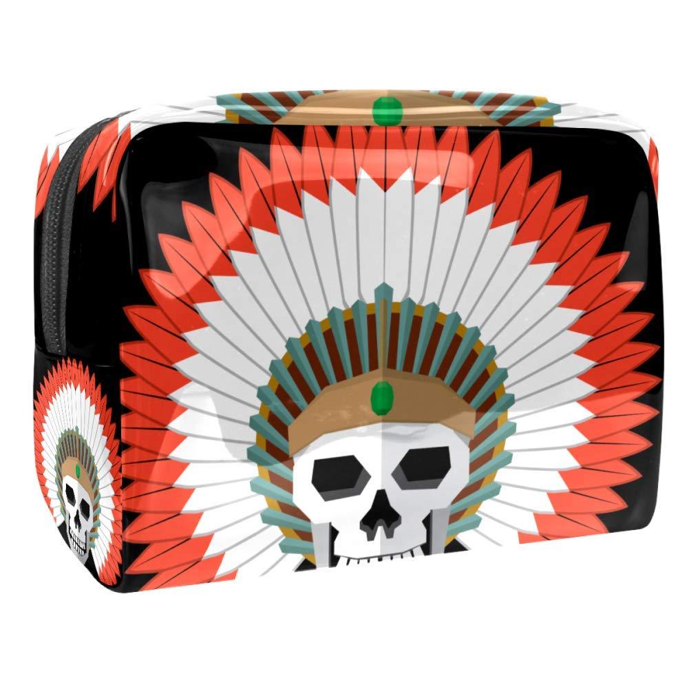 American Indian Skull Headdress Makeup Bag PVC Waterproof Cosmetic Pouch Portable Handbag for Makeup Tools Organize