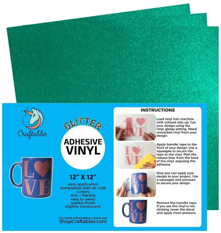 Craftables Teal Glitter Adhesive Vinyl for Cricut, Silhouette Cameo, and Craft Cutters - (3) 12in x 12in Sheets