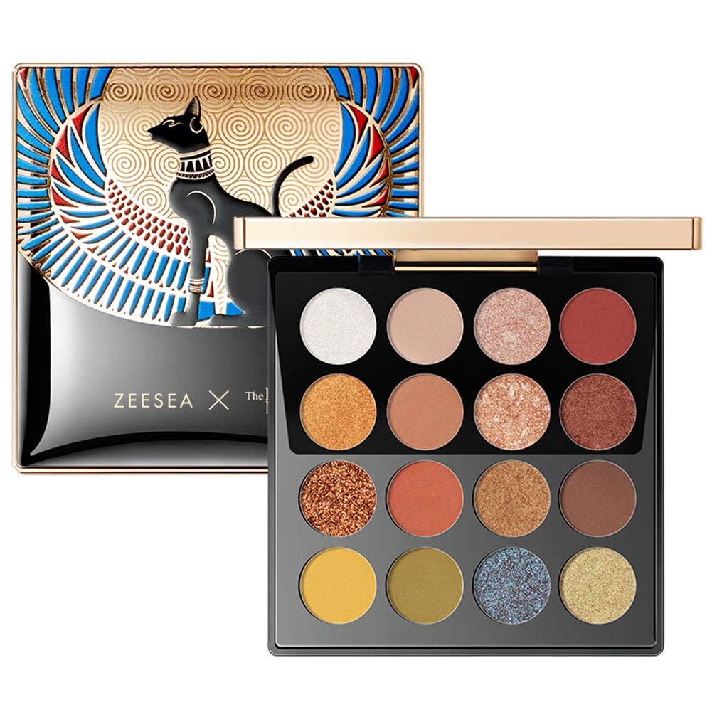 ZEESEA Eyeshadow Palette Makeup 16 Colors The British Museum Egypt Series Shimmer Matte Glitter Colors Eye shadows Makeup Palette Highly Pigmented Creamy #01 SUNSET