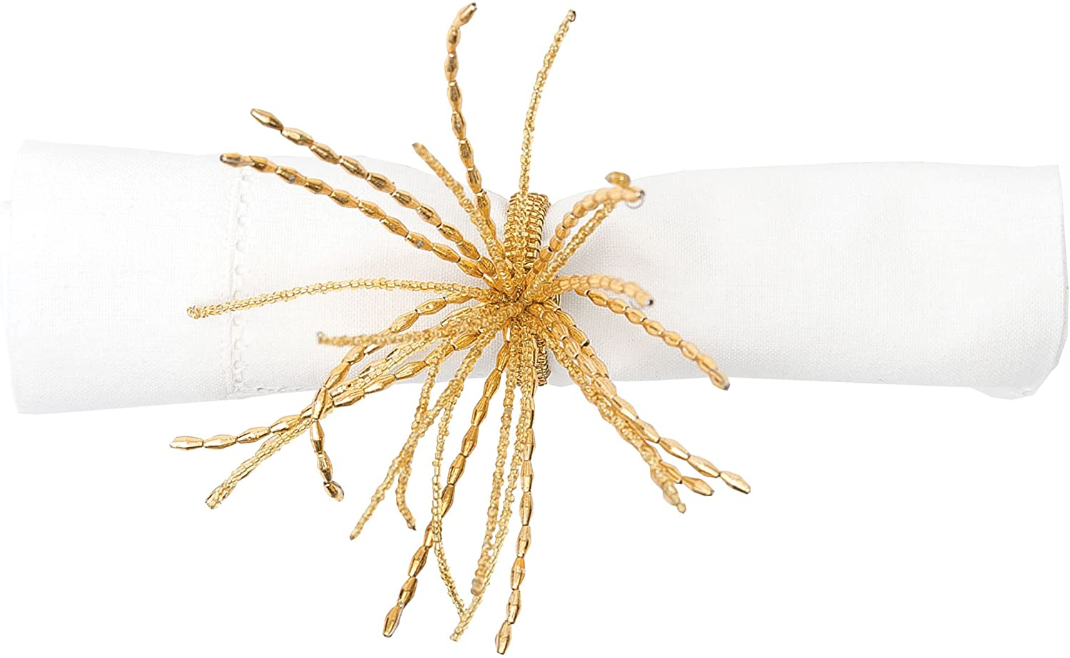 C&F Home Beaded Spray Gold Tropical Beach House Coastal Ocean Hand Crafted Decorative Parties Occasion Napkin Ring Set of 6 Napkin Ring Set of 6 Gold