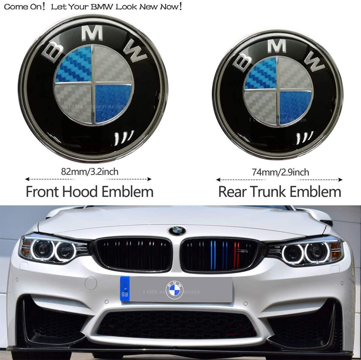 2pcs BMW Blue and Green 82mm Hood Emblem/74mm Trunk Emblem, Emblems Replacement for BMW X3 X5 X6 3 4 5 6 7 8 series 325i 328i E46 E30 E36 E34 E38 E39 E60 E65 E90