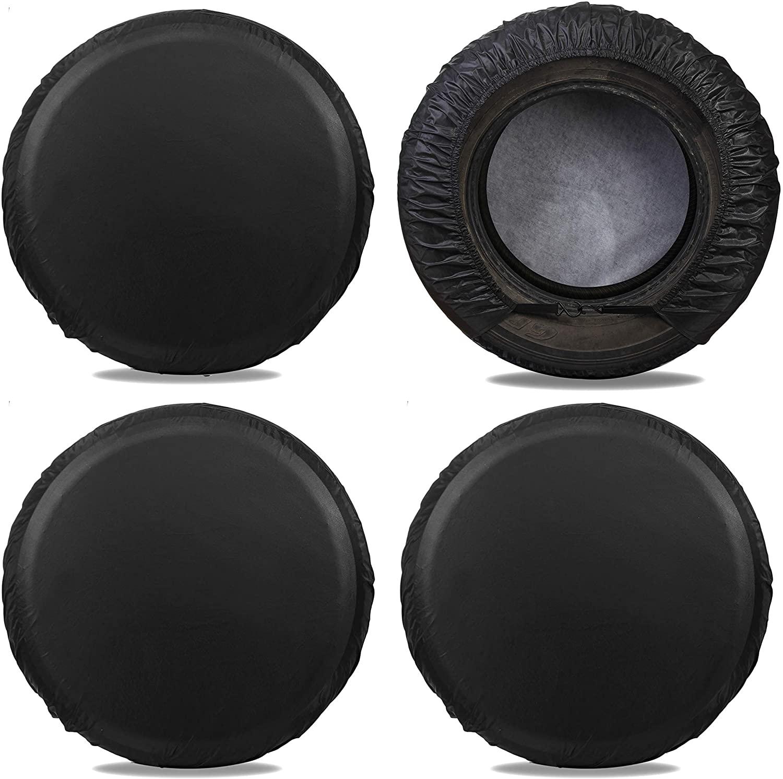 Moonet Tire Covers for RV Wheel (4 Pack Black), 4 Layer Oxford Waterproof UV Sun Protectors for Motorhome Boat Trailer Camper Van SUV,D81cm x H28cm for Diameter 30