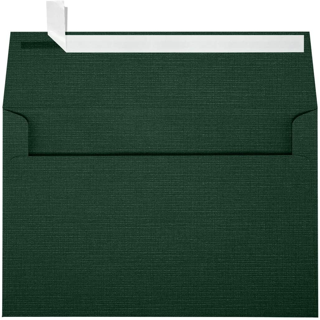 LUXPaper A9 Invitation Envelopes in 80 lb. Green Linen for 5 1/2 x 8 1/2 Cards, Printable Envelopes for Invitations, with Peel and Press, 50 Pack, Envelope Size 5 3/4 x 8 3/4 (Green)