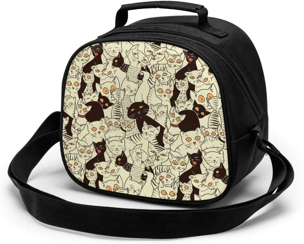 Cat Modern Big Eyed Funk Style Kitties Retro Sweet Animal Kids Insulated Lunch Box for Boys and Girls, Lunch Bags Designed for Child, Sandwich, Salad, Snacks, Drinks Container, Kids Funny Lunchbox