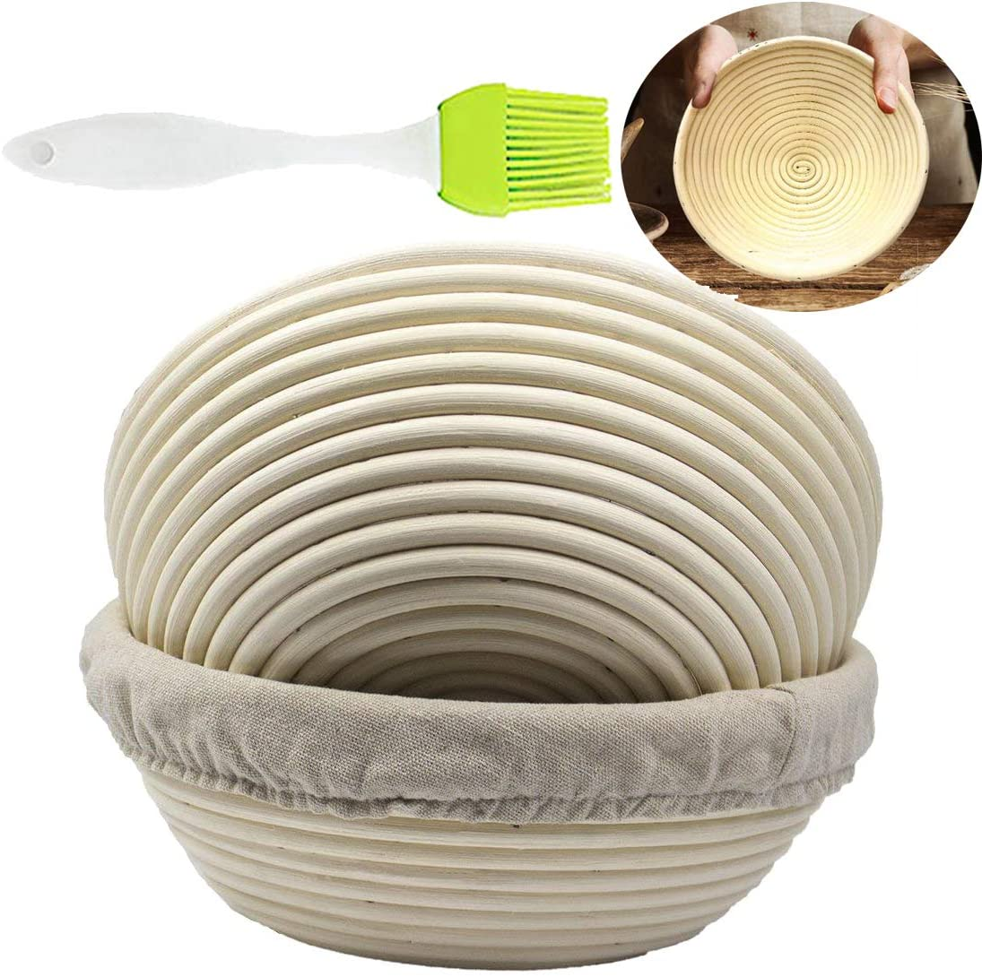 ABeauty Set of 2 8.5inch Round Banneton Brotform Bread Dough Proofing Rising Rattan Basket with Liner and Silicone Brush for Professional & Home Baker