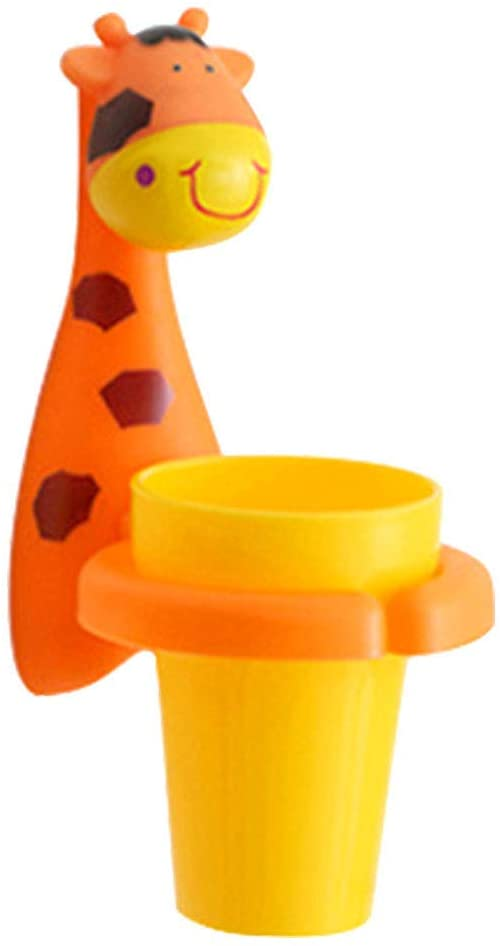 Ourelects Cute Animal Toothbrush Holder Cartoon Toiletries Toothpaste Holder Wall Suction Bathroom Sets Cup Tooth Brush Container Organizer Tools (Giraffe)