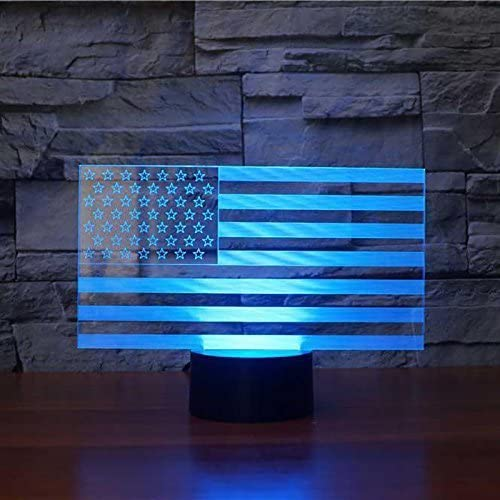 HPBN8 Ltd Creative 3D American Flag Night Light USB Powered Touch Switch LED Decor Table Desk Optical Illusion 3D Lamp 7 Colors Changing Lights Xmas Brithday Children Kids Toy Christmas Gift