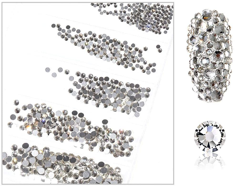N/C 1440pcs Set Nail Rhinestones 3D Nail Glitter Sequins Rhinestone Crystals, Nail Sequins DIY Shimmer Pearl Jewelry for Tips Manicure Decor