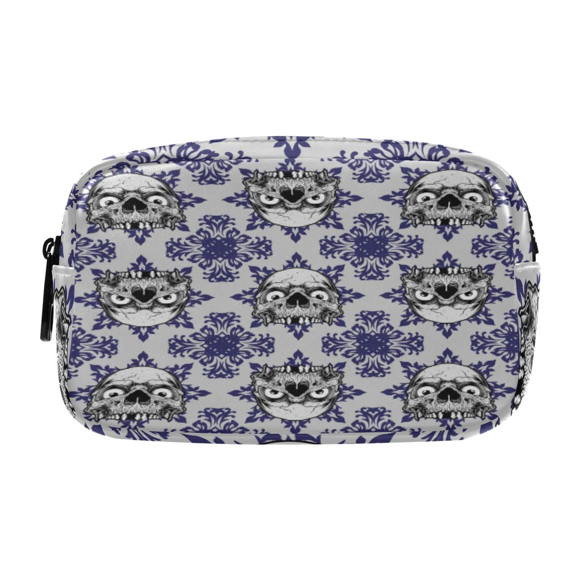 ALAZA Skull on Ethnic Background Cosmetic Bag Leather Pencil Case Waterproof Portable Travel Makeup Pouch with Zipper for Women Girls Teens