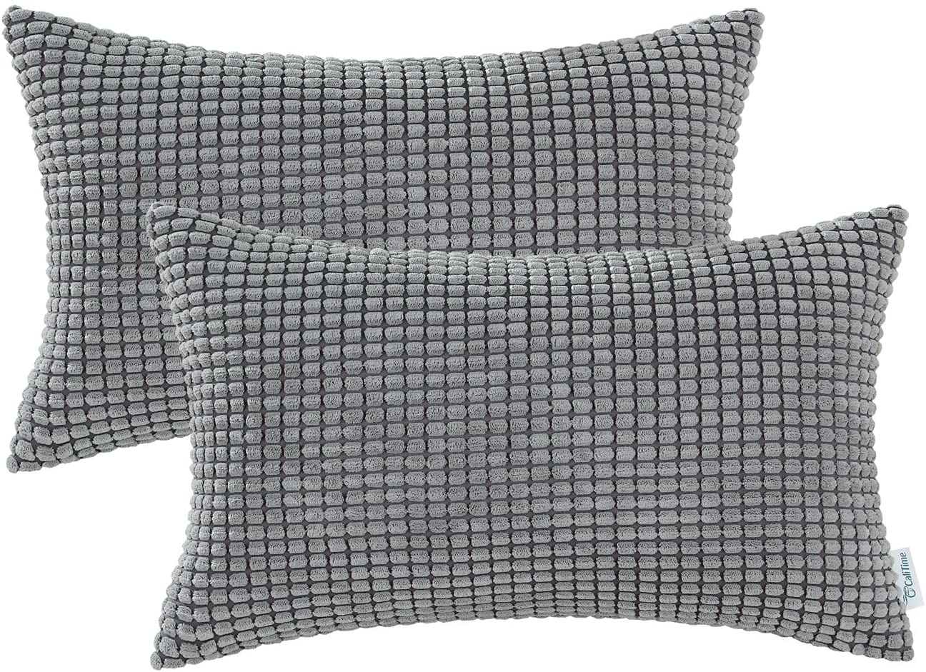 CaliTime Pack of 2 Comfy Bolster Pillow Covers Cases for Couch Sofa Bed Decoration Comfortable Supersoft Corduroy Corn Striped Both Sides 12 X 20 Inches Medium Grey