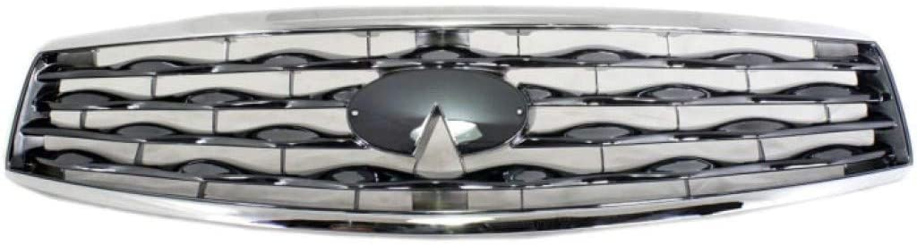 For Infiniti FX35 / FX50 Grille Assembly 2009 2010 2011 | Chrome Shell/Titanium Insert Plastic | IN1200113 | 620701CA0A