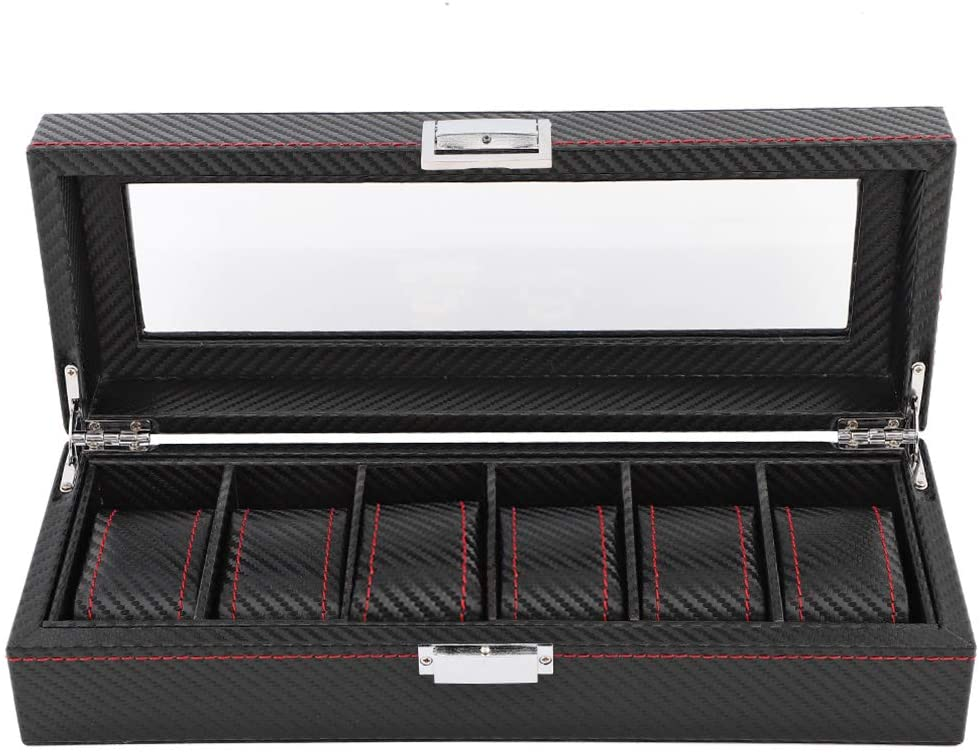 AYNEFY Carbon Fiber Watch Box, Watch Jewelry Display Box Carbon Fiber Watch Travel Case Storage Organizer Collector for Men and Women (6 Slot)
