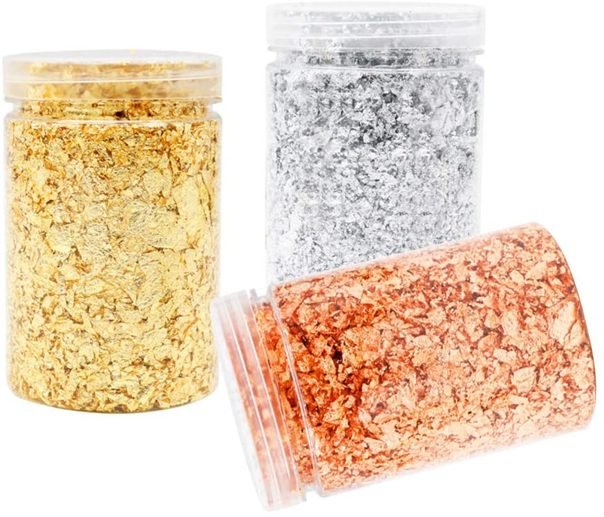 Gold Leaf Flakes, Gilding Flakes Kit Cosmic Shimmer Gold, Silver, Rose Gold Color Gilding Flakes Set for Nails, Crafts, Art, Lip Gloss, Resin (3g)