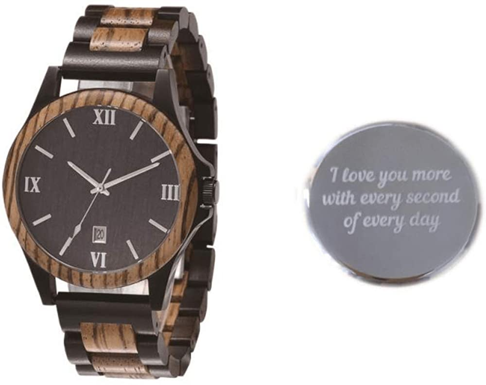 Men's Gift Watch Steel and Wood Wrist Watches