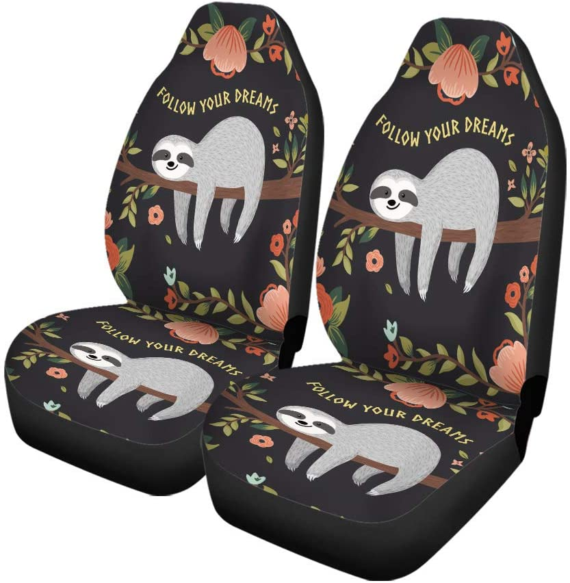Britimes Set of 2 Car Seat Covers Auto Accessories Carseat Front Seats Fit Most Cars,SUV Sedan,Truck Follow Your Dreams Sloth