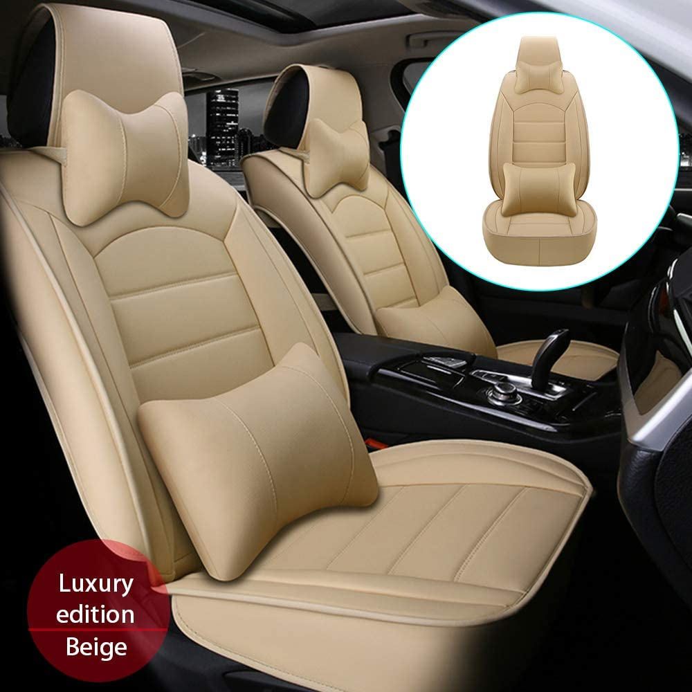 DBL Car Front Seat Cover for Mazda 3 6 (Airbag Compatible) Luxury PU Leatherette Car Seat Cushions Protector Beige