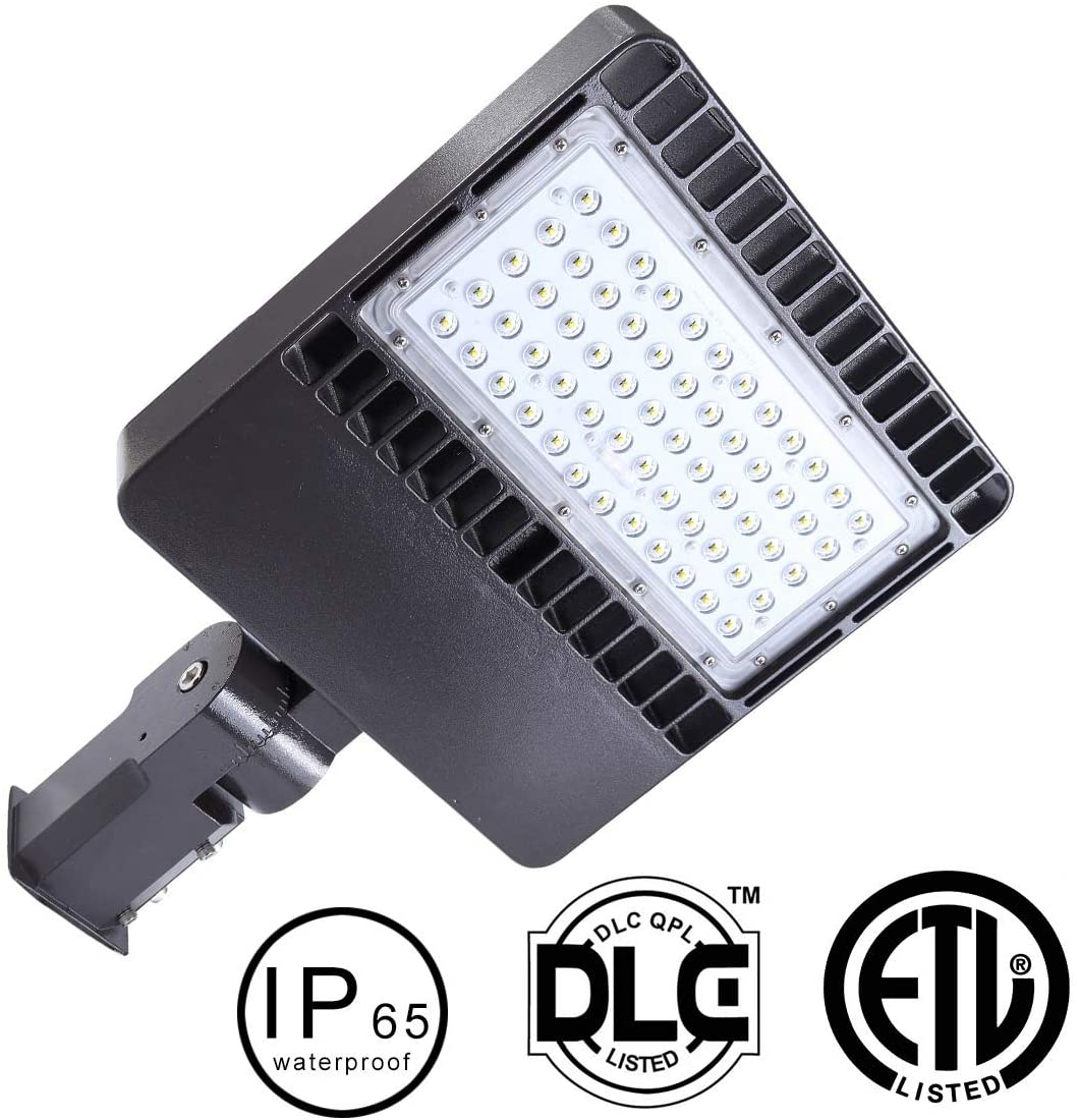 150W LED Parking Lot Lights- 18000LM LED Street Lights Shoebox Pole Lights, 5000K Super Bright Dusk to Dawn with photocell Outdoor Commercial Area Road Lighting Slip Fitter