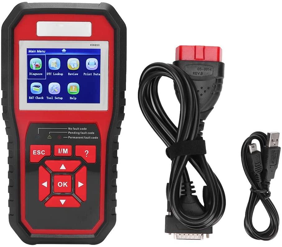 Suuonee Car Diagnostic Instrument, KW850 OBD2 EOBD Scanner Car Code Reader Tester Car Diagnostic Tool Instrument(Black + Red)