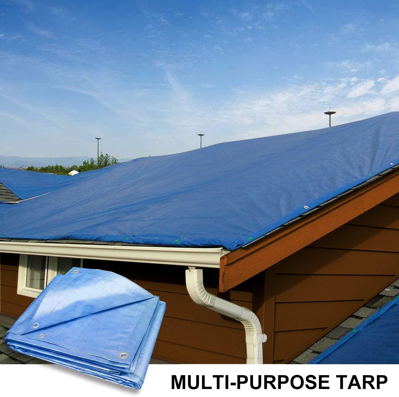 Coarbor 10' x 12' Waterproof Tarp Matertial 5 Mil Protect Outdoor Boat RV Pool Cover Blue
