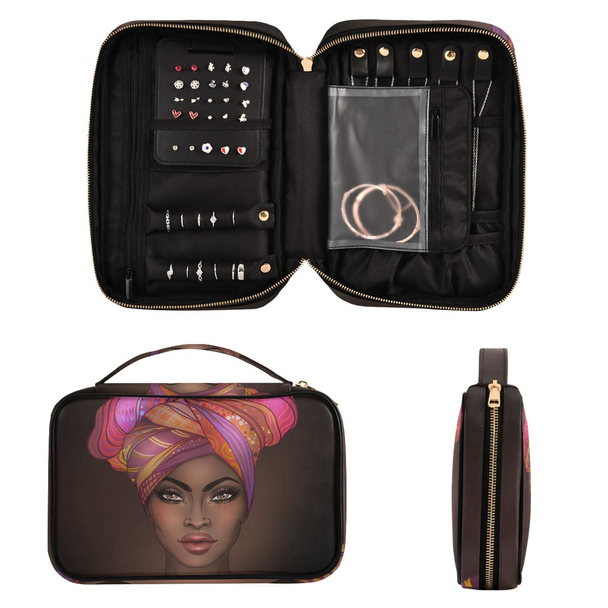 Jewelry Organizer Bag Travel Jewelry Storage Cases for Necklace, Earrings, Rings, Bracelet,African American Gir(a)