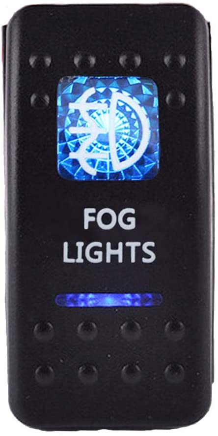 ESUPPORT Car Blue LED Fog Light Rocker Toggle Switch ON OFF 12V 20A, 24V 10A