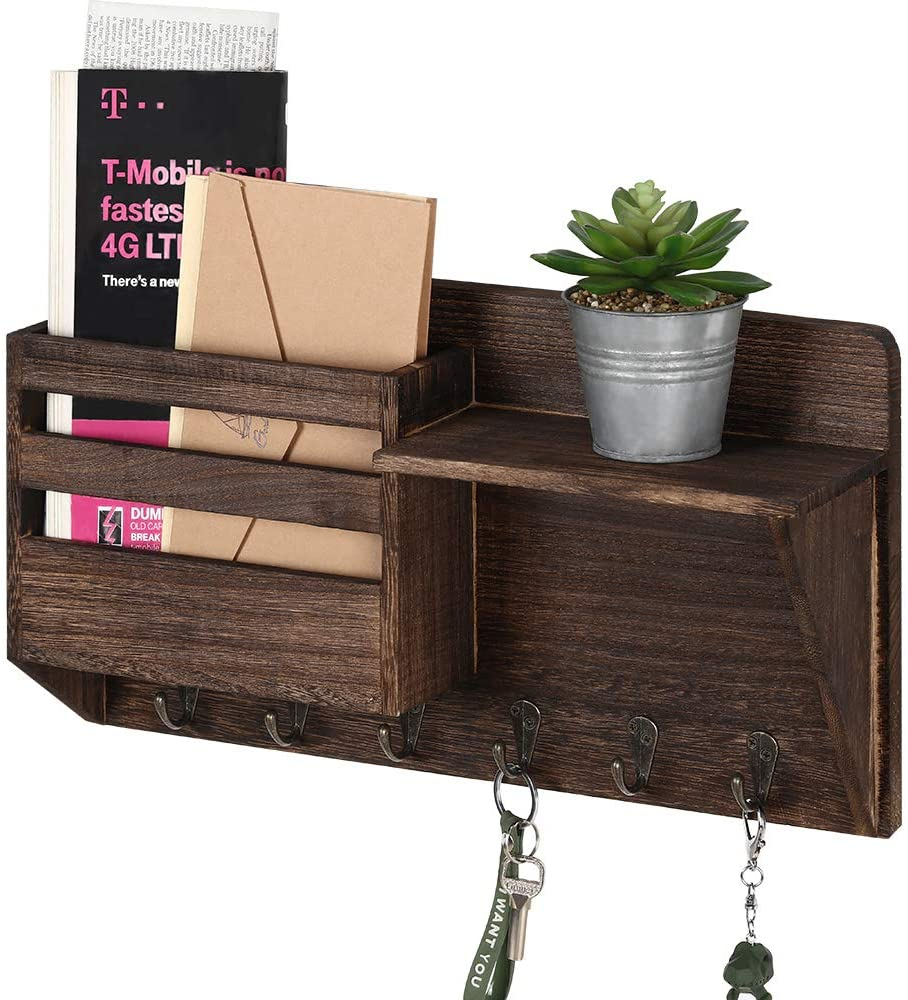 LIANTRAL Mail Sorter Wall Mount Mail & Key Holder Organizer with 3 Key Hooks, 1 Compartment, and Shelf(Brown)