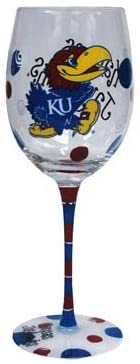 Game Day Outfitters NCAA Kansas Jayhawks Drinkware Wine Glass, One Size/12 oz, Multicolor