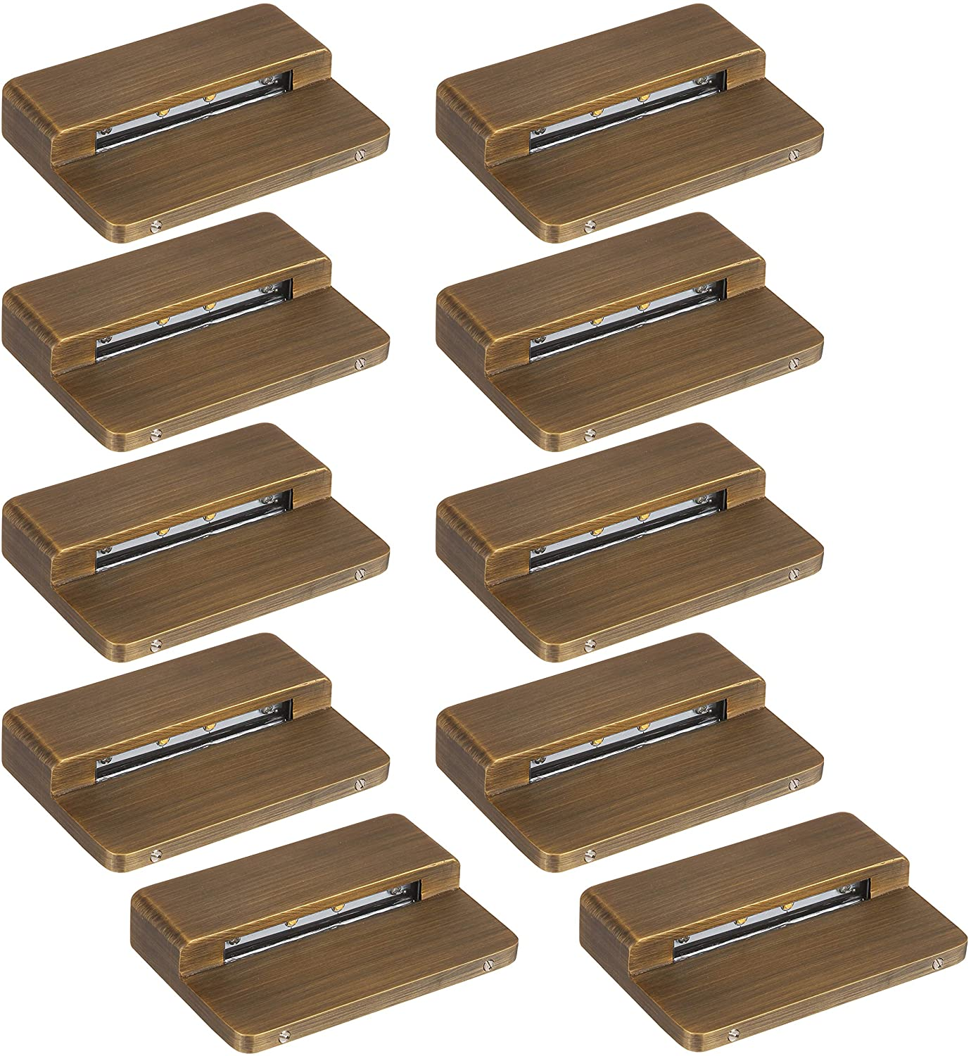 LFU Brass Constructed Surface Mounted Deck/Step/Patio/Hardscape Light. Low Voltage. (10 Pack Bundle, Dorado)