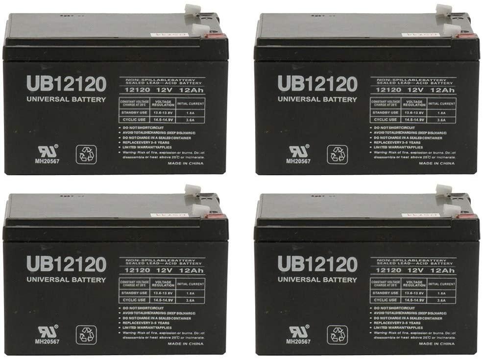 Universal Power Group 12 Volt 12 Amp Hour SLA 12V 12ah Ebike Electric Scooter Battery - 4 Pack