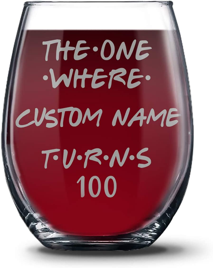 Personalized 100th Birthday 21 oz Stemless Glasses for Women and Men, Happy 100 Birthday Gift, Hundred Years Birthday Wine Glass, 100th Birthday Party Decoration Gift Ideas For Her or Him
