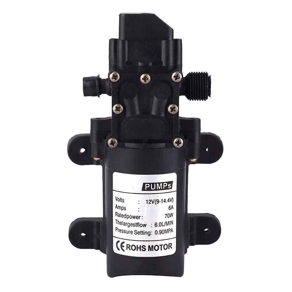 Water Pump, 12V 70W High Pressure Diaphragm Self Priming Pump Single Screw Thread Diaphragm Water Pump