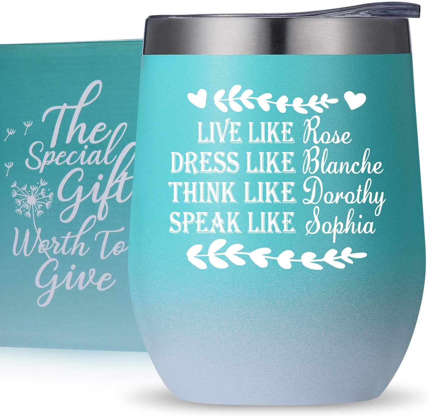 Birthday Gifts,Thank You Gifts,Graduation Gifts for Women,Best Friends,Sisters,BFF,Besties,Long Distance Friendship Gifts,Live Like Rose Dress Like Blanche, Wine Tumbler Mug Cup