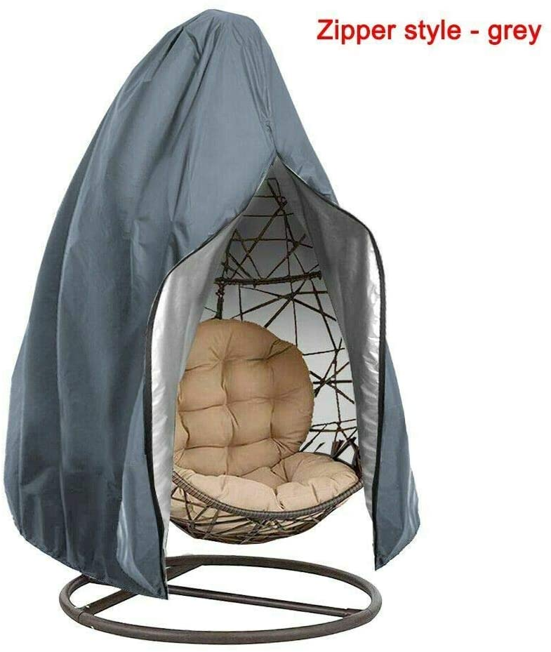 ELVg Patio Chair Cover Waterproof Egg Swing Chair Dust Protector Zip Protective Case,Grey