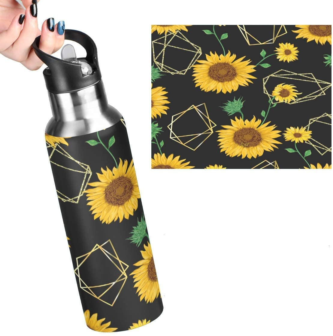 Vintage Sunflower Leakproof Reusable Stainless Steel Water Bottle with Straw 20oz Yellow Summer Floral Coffee Travel Thermos Flask Double Walled Vacuum Insulated Thermoses for Women Men Kids.