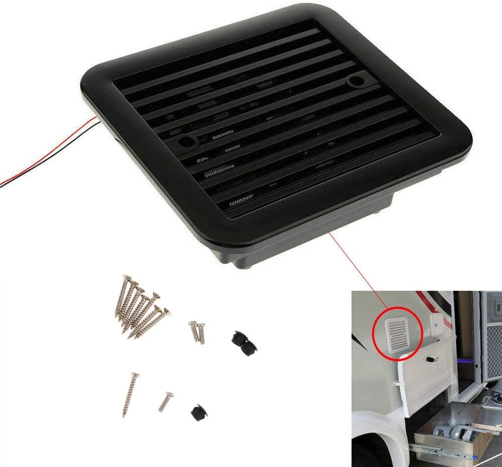 MASO 12V One-Way Silent Cooling Fan Side Exhaust Port Air Fan Ventilation Fans for Car RV Caravan Van(Black)
