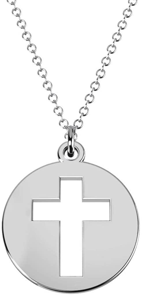 14K Gold Cross Cutout Disc Necklace by JEWLR