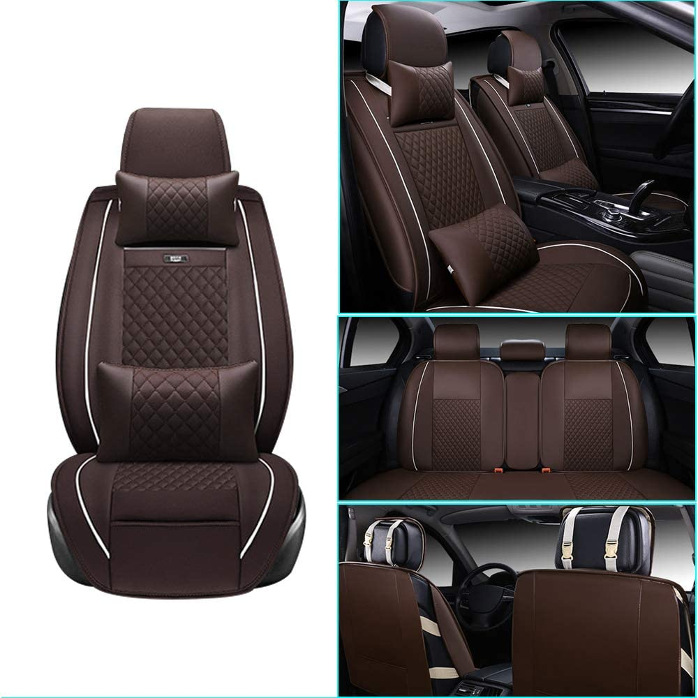 Car Seat Cover for Cadillac ATS-L Front+Rear Seats Protector Covers Waterproof Soft PU Leather Cushion 5-Seater Car Pad Rhombus Brown 9PCS