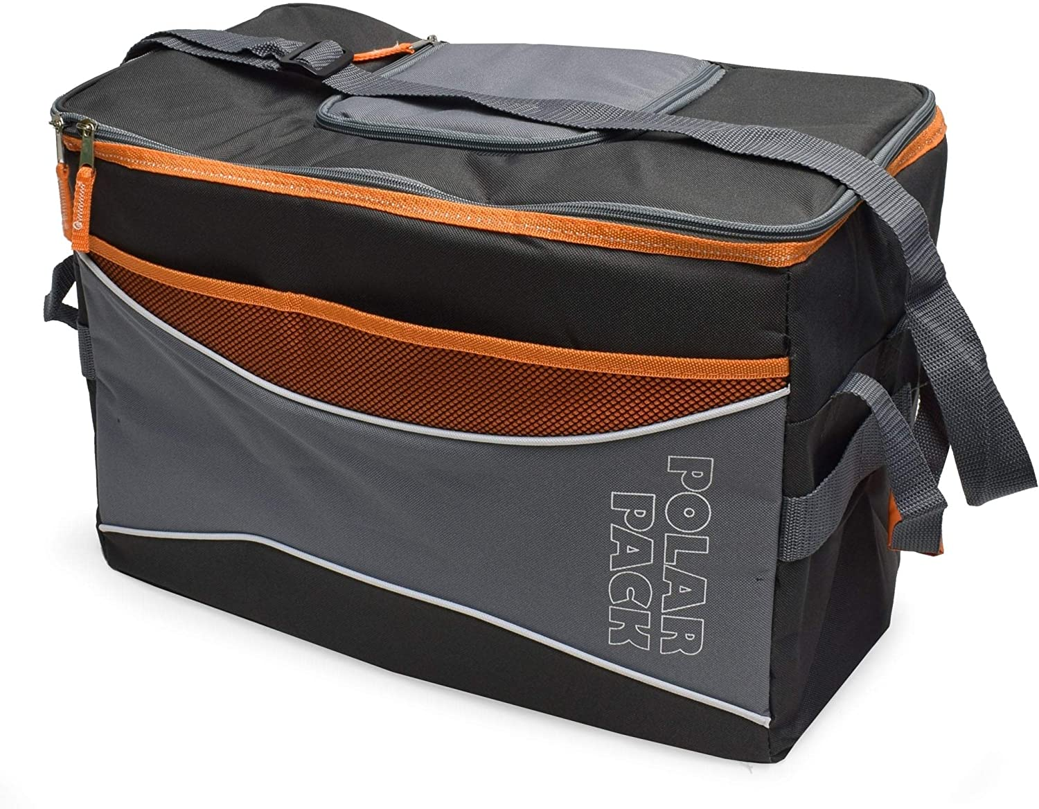 Polar Pack Large 48 Can Collapsible Cooler Bag Soft Portable Insulated Picnic Outdoor Travel Camping Hiking School Concerts Black Grey Orange Polyester Pop-up