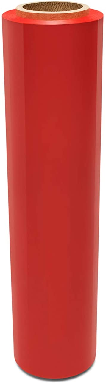 Stretch Wrap Film, Moving Wrap, Red, 15 Inch x 1500 Feet, 80 Gauge, 4 Pack