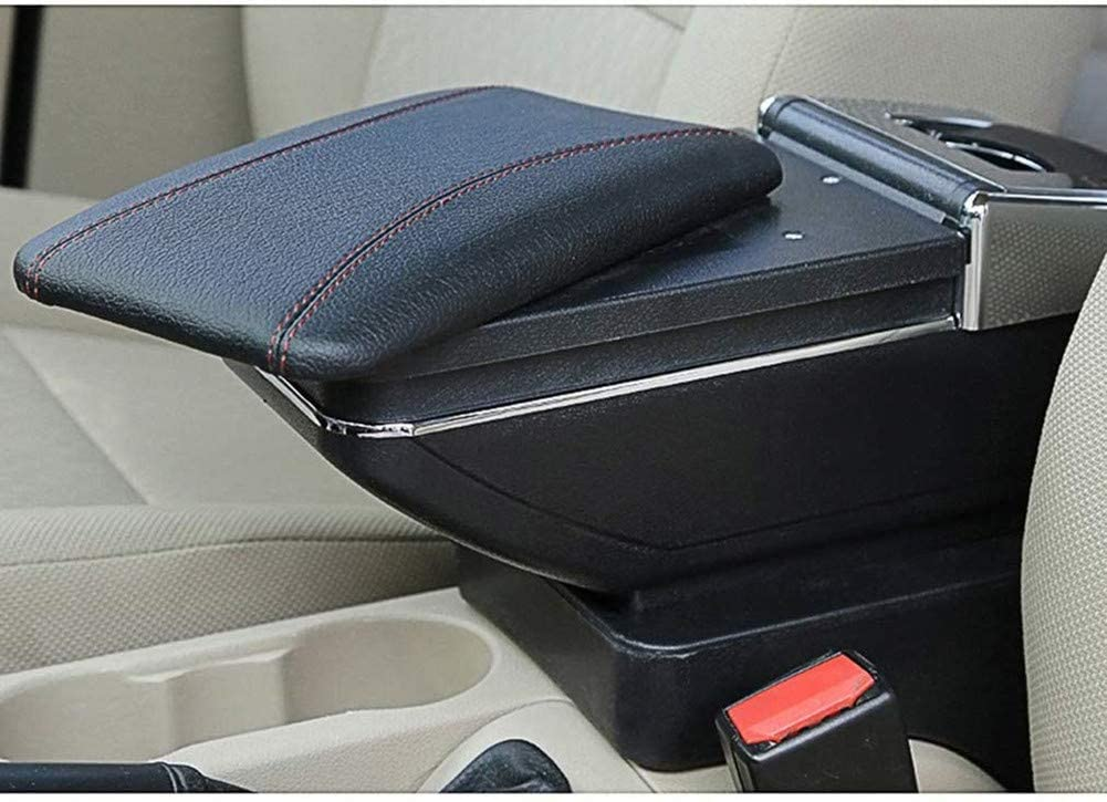 Jiahe for Mazda 2 Hatchback 2008-2013 Car Center Console Armrest Storage Box Accessories with Cup Holder and Removable Ashtra Black with Red line