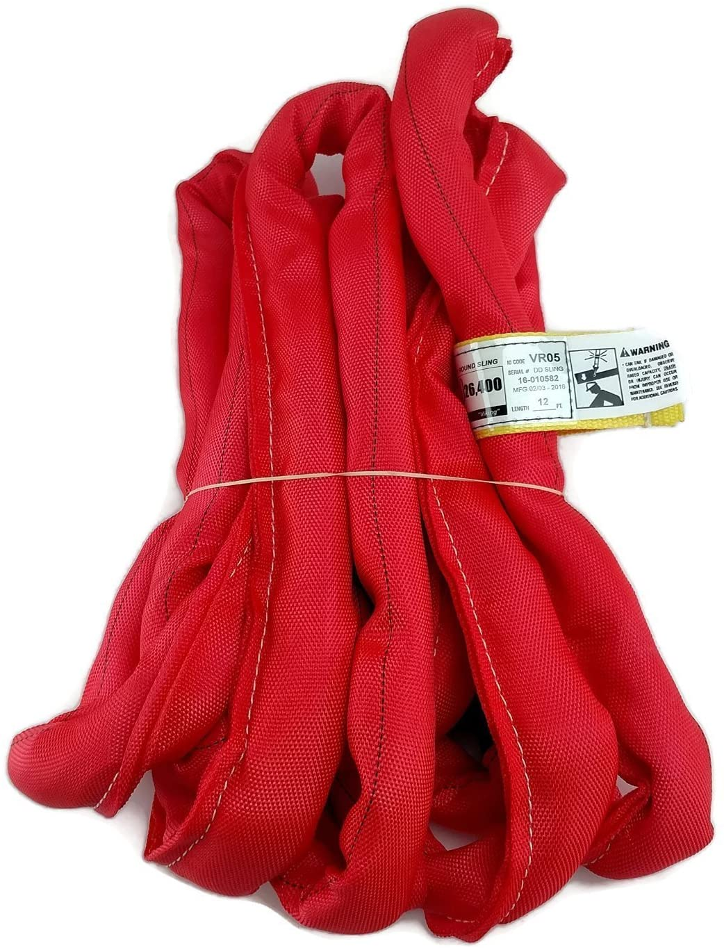 USA Made VR5 X 12' Red Slings 4'-30' Lengths in Listing, Double PLY Cover Endless Round Poly Lifting Slings, 13,200 lbs Vert, 10,560 lbs Choker, 26,400 lbs Basket (USA Polyester) (12 FT)