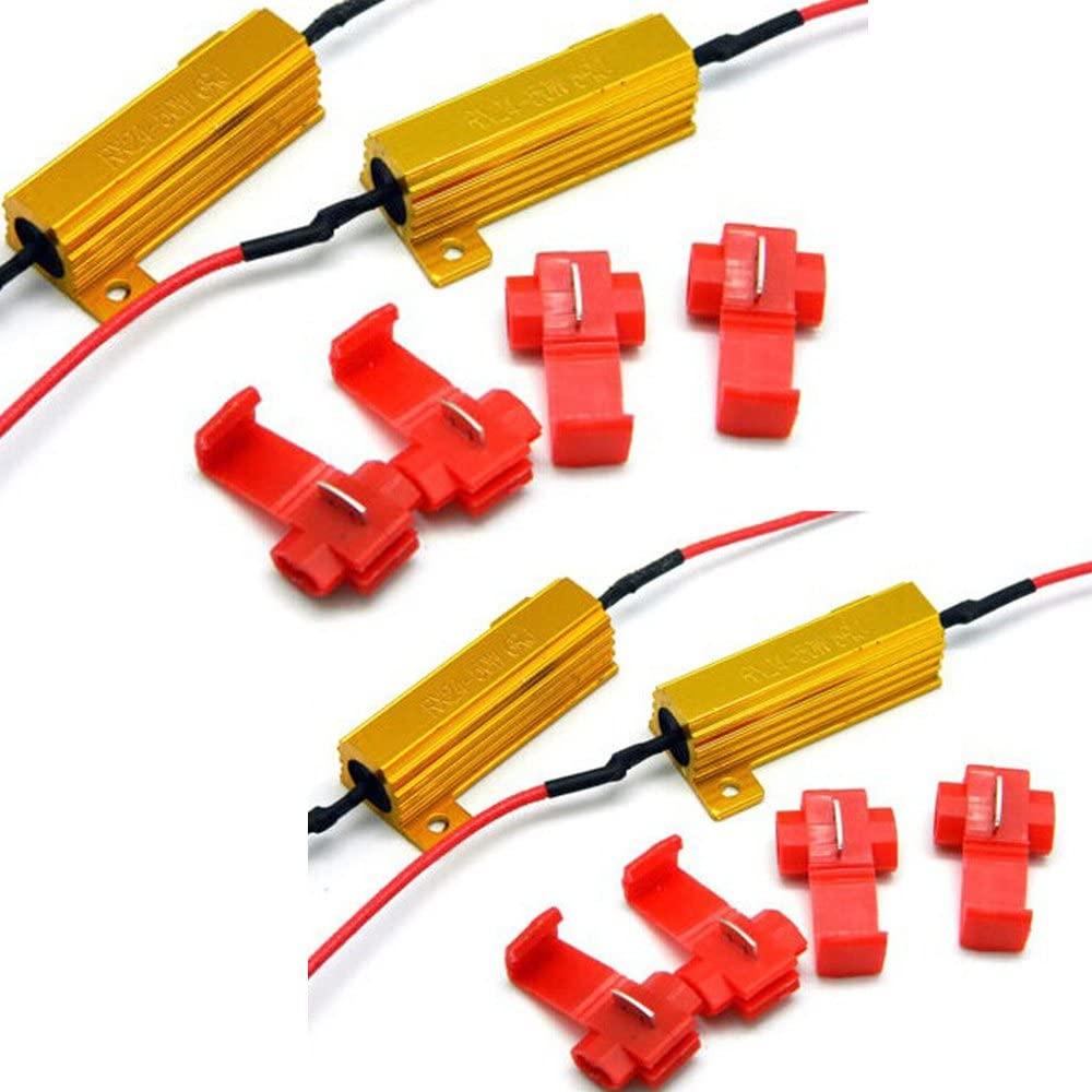 ESUPPORT Load Resistor 50w 6ohm Fix Bulb Hyper Flash Turn Signal Blinker Pack of 4