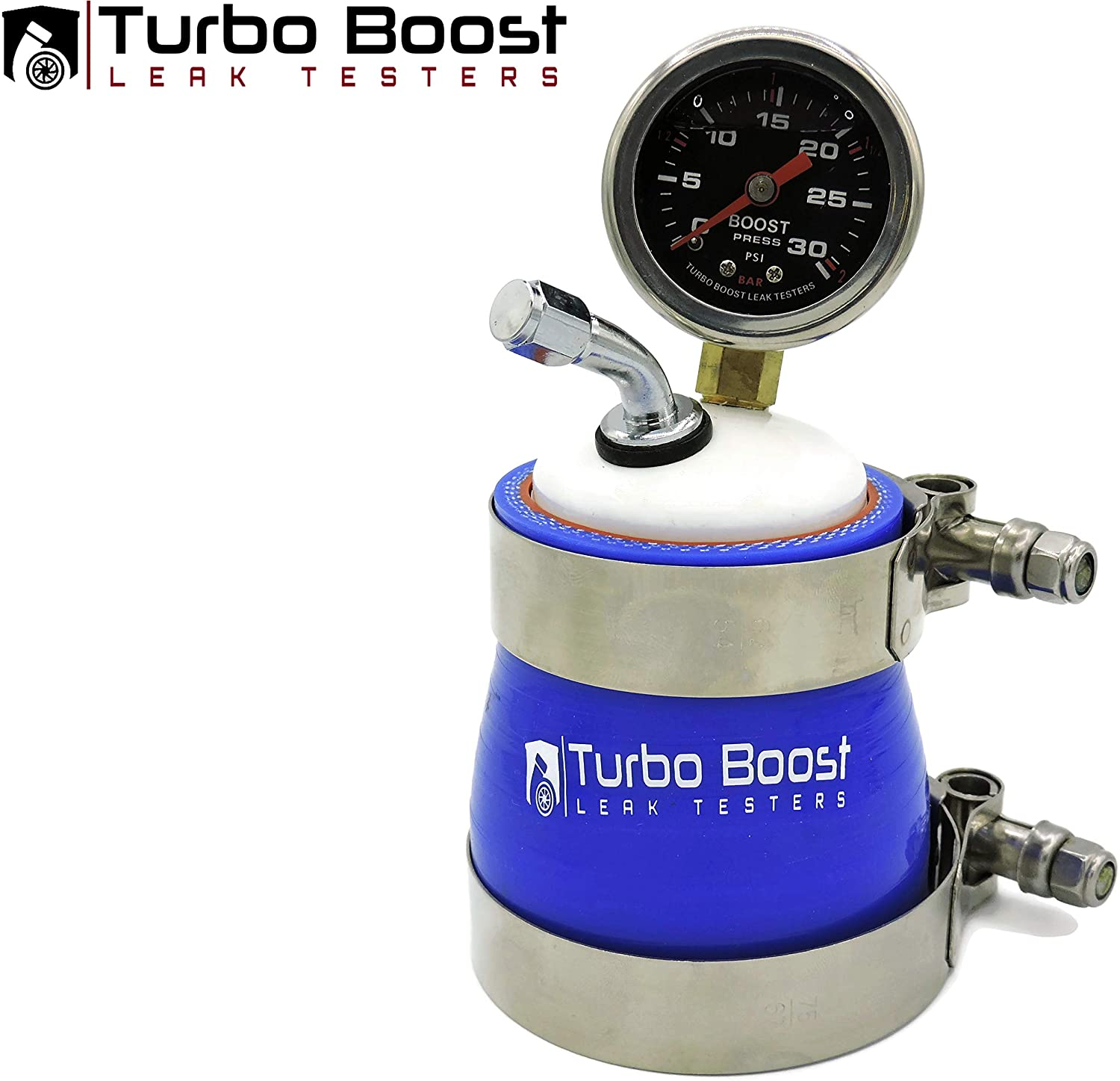 Turbo Boost Leak Testers 2.5 Universal - 30PSI Premium Stainless Steel Gauge - T-Bolt Clamps - Tire Valve Fitting