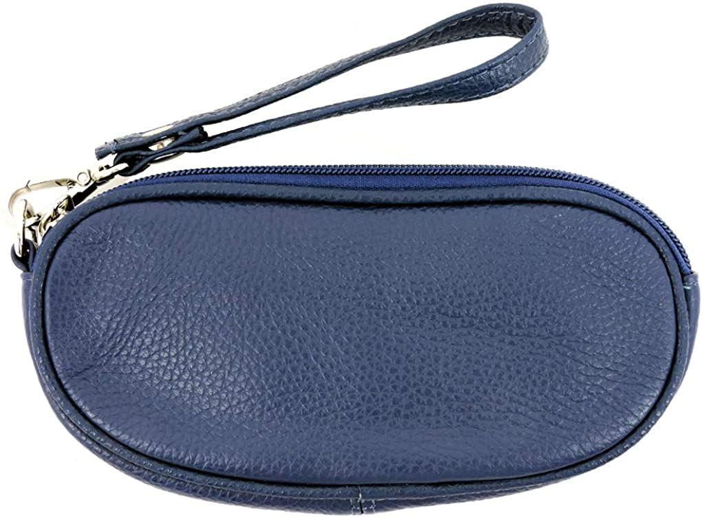 SILVERFEVER Leather Eyeglass Glasses Case with Wristlet Handle, Padded