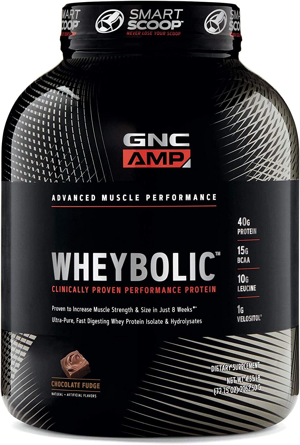 GNC AMP Wheybolic Whey Protein Powder - Chocolate Fudge, 33 Servings, Contains 40 Protein, 15g BCAA, and 10g Leucine Per Serving