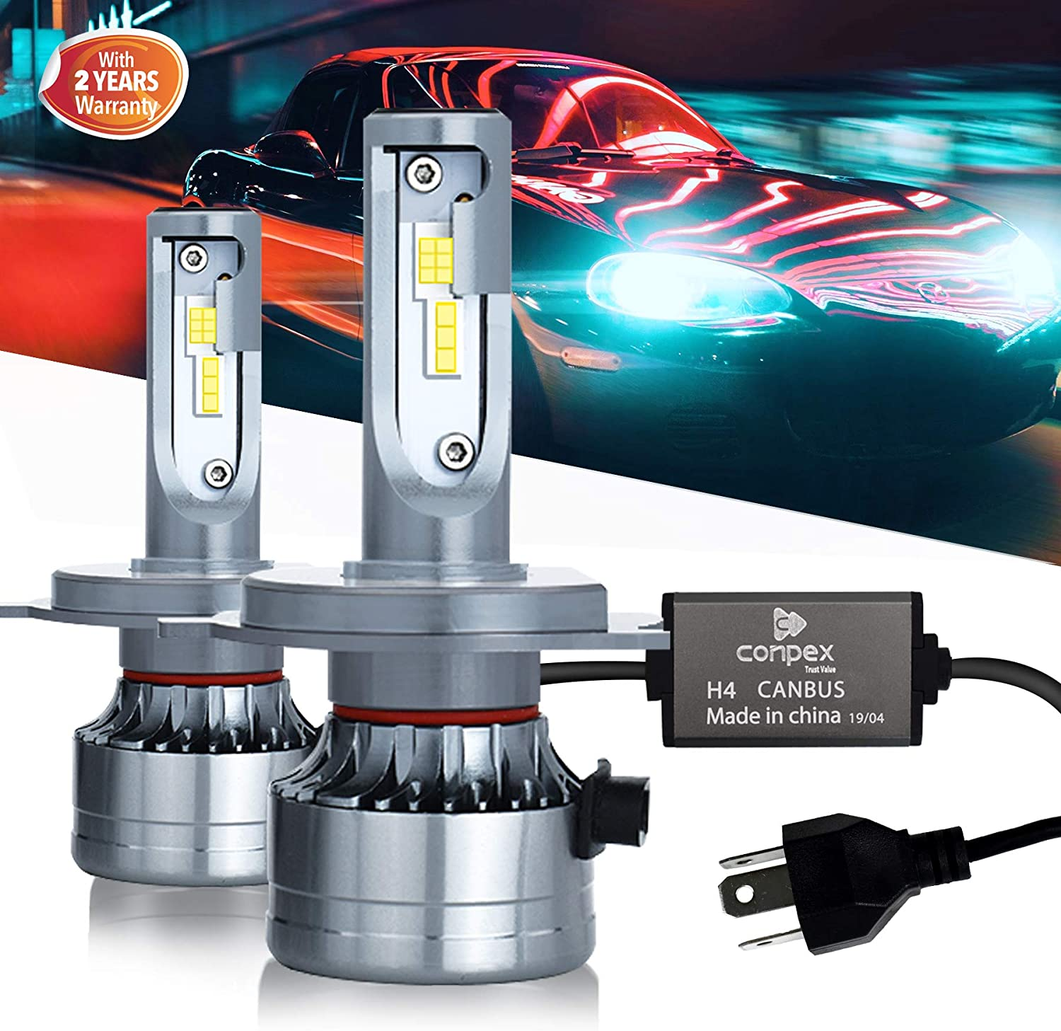 H4/9003/HB2 LED Headlight Bulbs Conversion Kit 11000 LM 6000K Xenon White Light for Hi/Lo Beam 2 Year Warranty